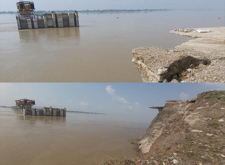 गोरखपुर-वाराणसी एनएच रोड के समीप सरयू नदी पर बन रही फोरलेन पुल 80 मीटर तक नदी की धारा मे विलिन