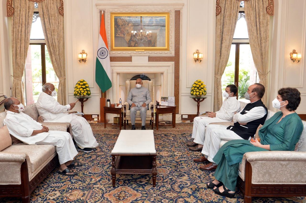 लखीमपुर खीरी मामले में राष्ट्रपति से मिले राहुल गाँधी